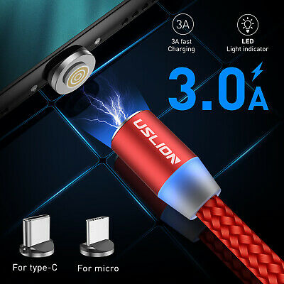 Magnetic Type C Micro USB Data Sync 3A Fast Charging Cable For Samsung Huawei