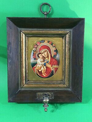 Antique Russian icon Virgin of Zhirovitskaya  with Kiot and bronze lamp