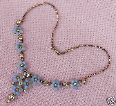 Vintage 50s BOGOFF Mid Century Glass Fruit Salad Rhinestone Bib Festoon Necklace