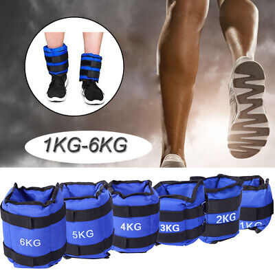 1 2 3 4 5 6kg Adjustable Strap Ankle Wrist Weights Fitness Training Leg Exercise