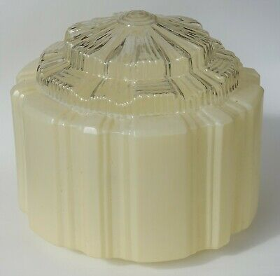 Original stepped empire art deco period light glass (8 inches) pale cream