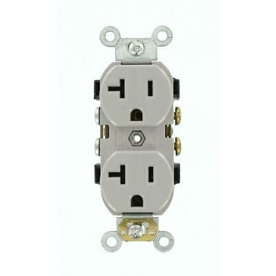 Leviton 20 Amp Industrial Grade Heavy Duty Self Grounding Duplex Outlet, Gray