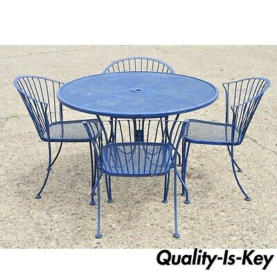 Woodard Pinecrest Blue Wrought Iron 5 Pc Patio Garden Dining 4 Chair Round Table