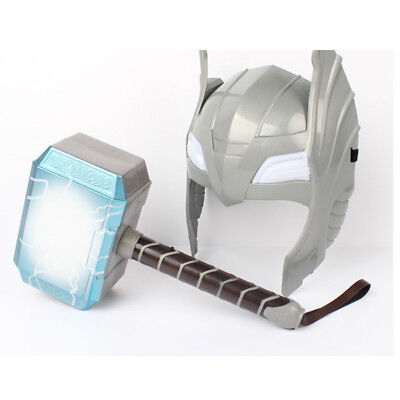 Thor Hammer Mask Cosplay Set With LED Glowing and Sounds Halloween Costume Kids