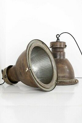 Salvaged & Restored Industrial Holophane Pendant Ceiling Lights 1