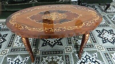Vintage Italian Sorrento Inlaid Wooden Marquetry Drinks Table