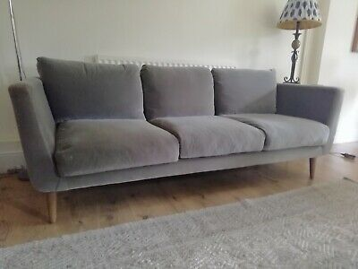 Sofa.Com grey velvet Holly mid century style 3 seater sofa. 3 years old.