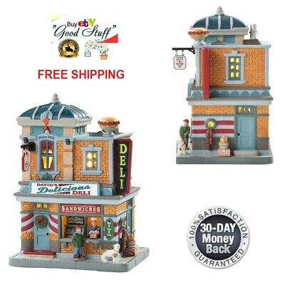 NEW 2018 Lemax Village Collection Lighted Building David's Deli XMAS Decor Gift