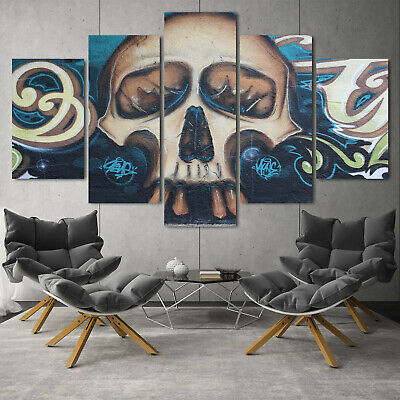 Abstract Skull Flower 5PCS Canvas Art Print Home Decor Painting Wall Art Picture