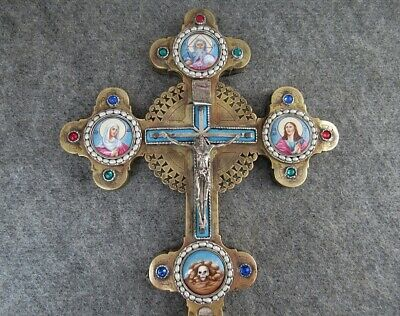 Antique Russian Orthodox Bishop Blessing Cross Brass Silver Enamel Mop Icon 1888