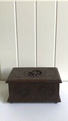 Vintage French Breton Hand Carved Wooden Box With Hinged Lid 1950's