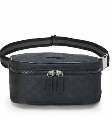 a32c98bf7 GUCCI Belt Bag Cross body Black Nylon Waist Pouch Fanny Pack GG Marmont Soho
