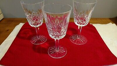 "Waterford crystal water goblets, Lismore pattern, lot of 3. 6 7/8"". Pre-owned."