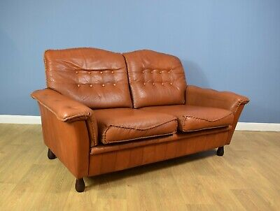 Mid Century Retro Vintage Danish Patinated Tan leather 2 Seat Sofa Settee 1960s