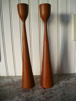 Vintage Mid Century Modern Teak Wood Candle Stick Holders Danish Retro MCM