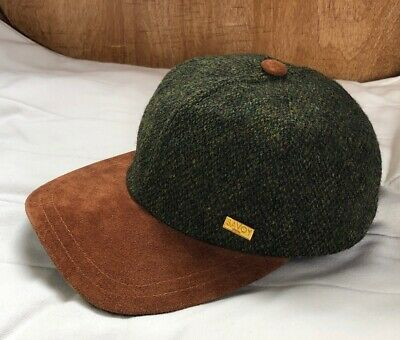 d730171dd GREEN HERRINGBONE IRISH Tweed Baseball Cap With Ear Flaps by John ...