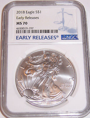 2018 $1 NGC MS70 American Silver Eagle Early Releases Blue Label!!!