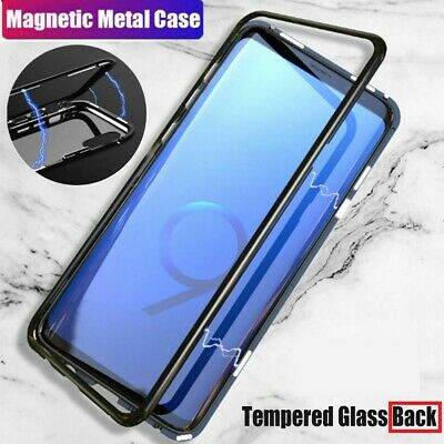 Samsung Galaxy S9 S10 S10+ e Magnetic Adsorption Tempered Glass Back Case Cover