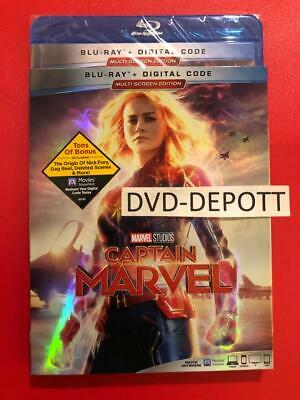 CAPTAIN MARVEL Blu Ray + Digital HD & Slipcover Brand New FAST Free Shipping