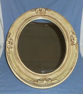 LG VTG Oval Framed Wall Hanging Free Standing Mirror Ivory Gold Detail Plastic