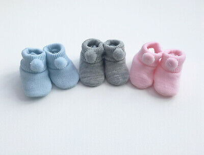 Baby Girls Boys Newborn Pom Pom Knitted Booties Soft Shoes Grey Pink Blue