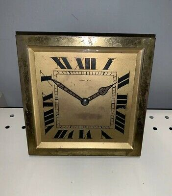 Tiffany & Co Hour Antique Art Deco French Brass Mantle Desk Top Clock Works