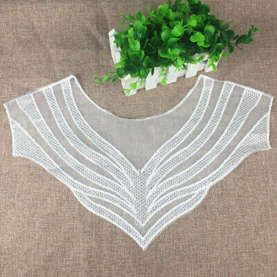 Chic Black White Embroidery Lace Collar Fabric Applique DIY Patch Sewing Craft