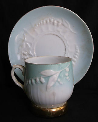 antique porcelain blue white embossed Lily of the Valley flower cup saucer vtg