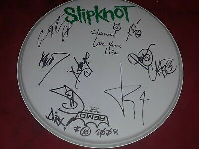 Slipknot Autographed Drum Head SIGNED 10 Members Rare