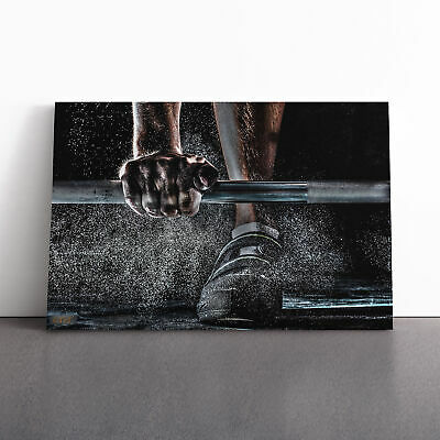 Canvas Wall Art Picture Print Body Building Fitness Weights