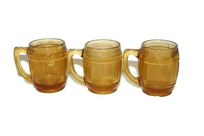 Set of 3 Vintage Amber Mini Mugs Barrel Shot Glasses Toothpick Holder
