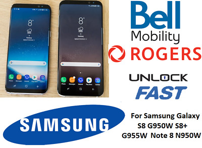 Canadian Models Bell Rogers SAMSUNG GALAXY S8 S8+ Note 8 Unlock Remote Service