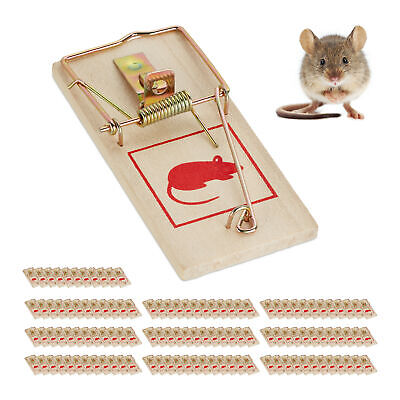 Set of 120 Wooden Mousetraps, Animal Trapping, Rodent Traps