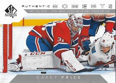 Carey Price #114 - 2018-19 SP Authentic - Authentic Moments
