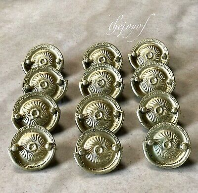 Vintage Set 12 Brass Gold Drawer Pulls - Estate Sale Find