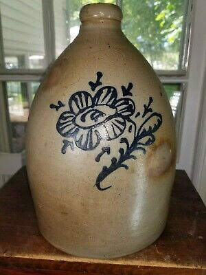 """Antique Primitive Stoneware """"A. O. Whittemore Havana N.Y."""" Jug *AS MADE*"""