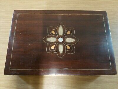 Vintage Wood Box w/Inlay Trinket Jewelry Chest *See Hinges!