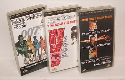 3 x Sean Connery as James Bond - VHS - 1992 Digitally Remastered Editions