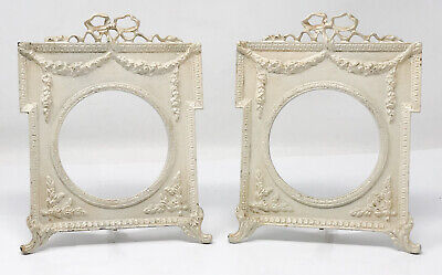 Pair Antique Ornate Cast Iron Easel Style Picture Frame SGC