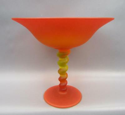 Tiffin 1920s HIGH FOOT COMPOTE #315 Amberina Satin Glass 5762