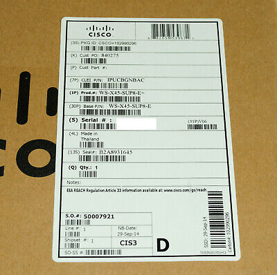 *Brand New* Cisco WS-X45-SUP8- E Unified Access Supervior Engine 928Gbs 1YrWty