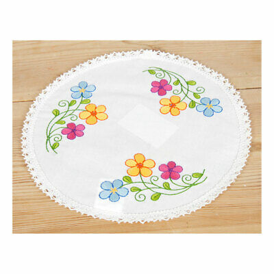 Embroidery Kit Doily Colourful Flowers on Polycotton Fabric Size 25cm Diameter
