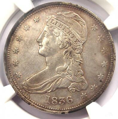 1836 Reeded Edge Capped Bust Half Dollar 50C Coin - NGC XF Details - Key Date!