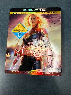 CAPTAIN MARVEL (4K Ultra HD + Blu Ray + Digital Code) Brand New with Slipcover