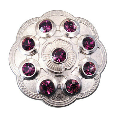C-Ty32 Set Of 32 Purple Crystal Rhinestone Floral Conchos Bling Headstall Tack C