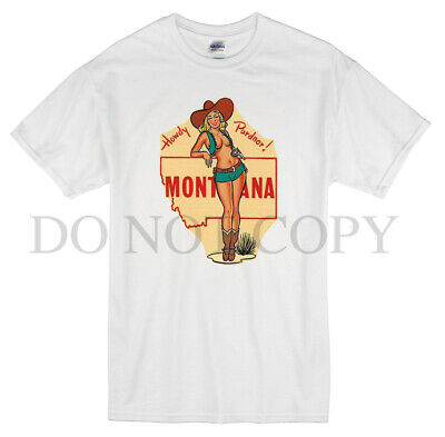 Montana T Shirt Retro Style Vintage Decal Art Pin Up Girl Travel State Cowgirl