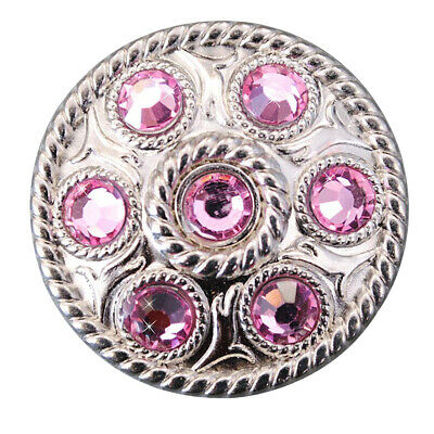 C-Ty16 Set Of 16 Pink Crystal Rhinestone Wheel Conchos Bling Headstall Tack Cowg