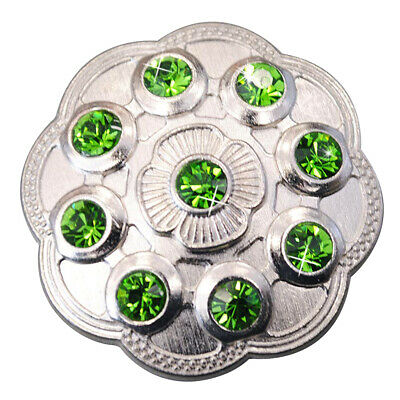 C-Ty16 Set Of 16 Green Crystal Rhinestone Floral Conchos Bling Headstall Tack Co