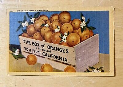 Linen Postcard - The Box Of Oranges I Promised You From California