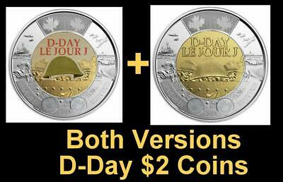 2019 CANADA 🍁 D-Day $2 Dollar Coin - Both Versions; BU from roll;🍁